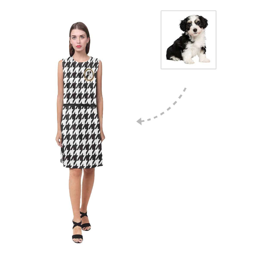 Custom Dog Photo Black and White Women's Sleeveless Dress