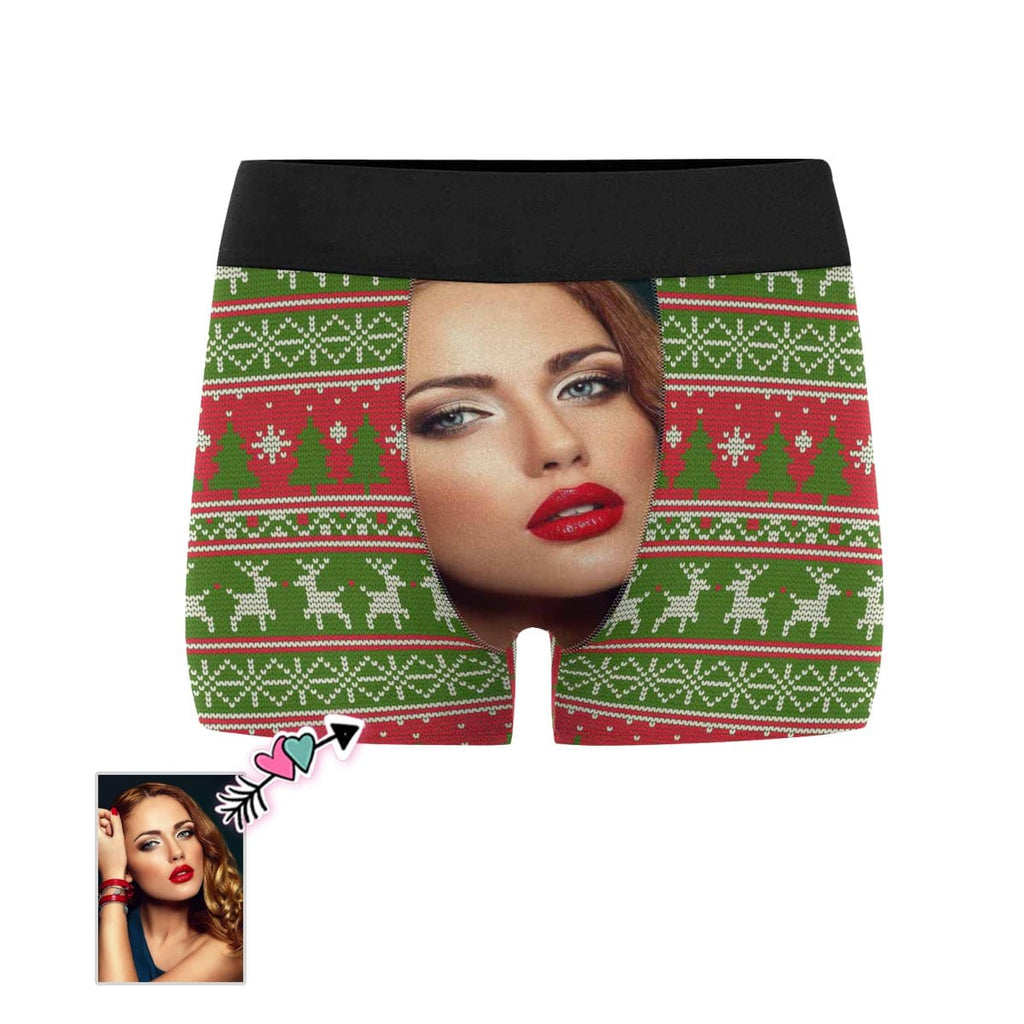 Custom Face Christmas Colours Men's All-Over Print Boxer Briefs