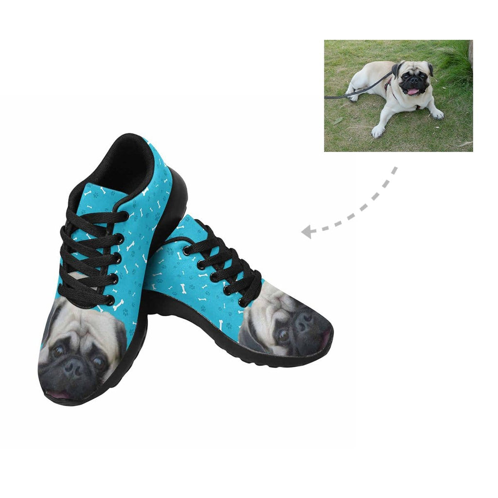 Custom Pug Dog Paw and Bone Men's Sneaker