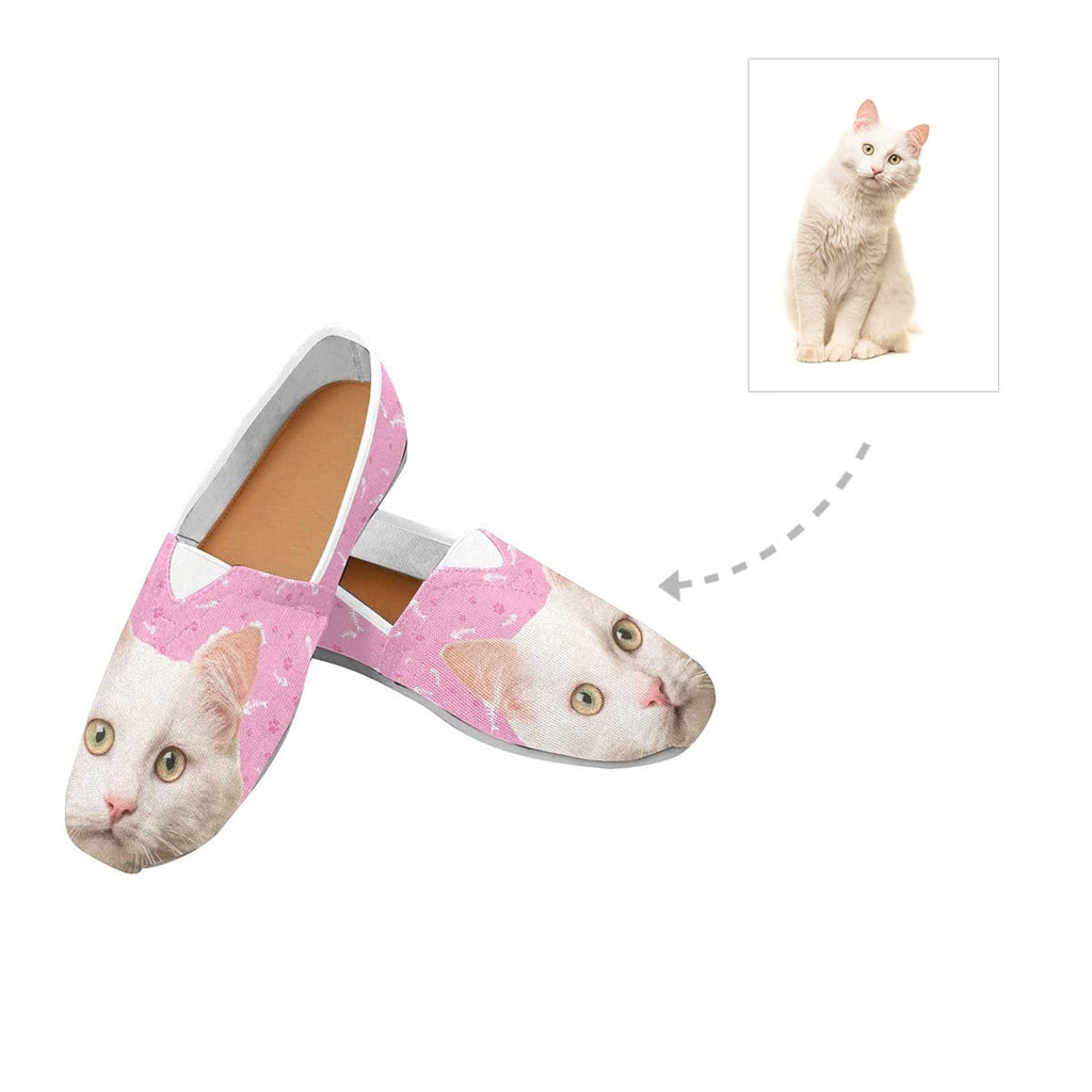Custom Angora Cat Face Paw and Fish Bone Women's Casual Shoes