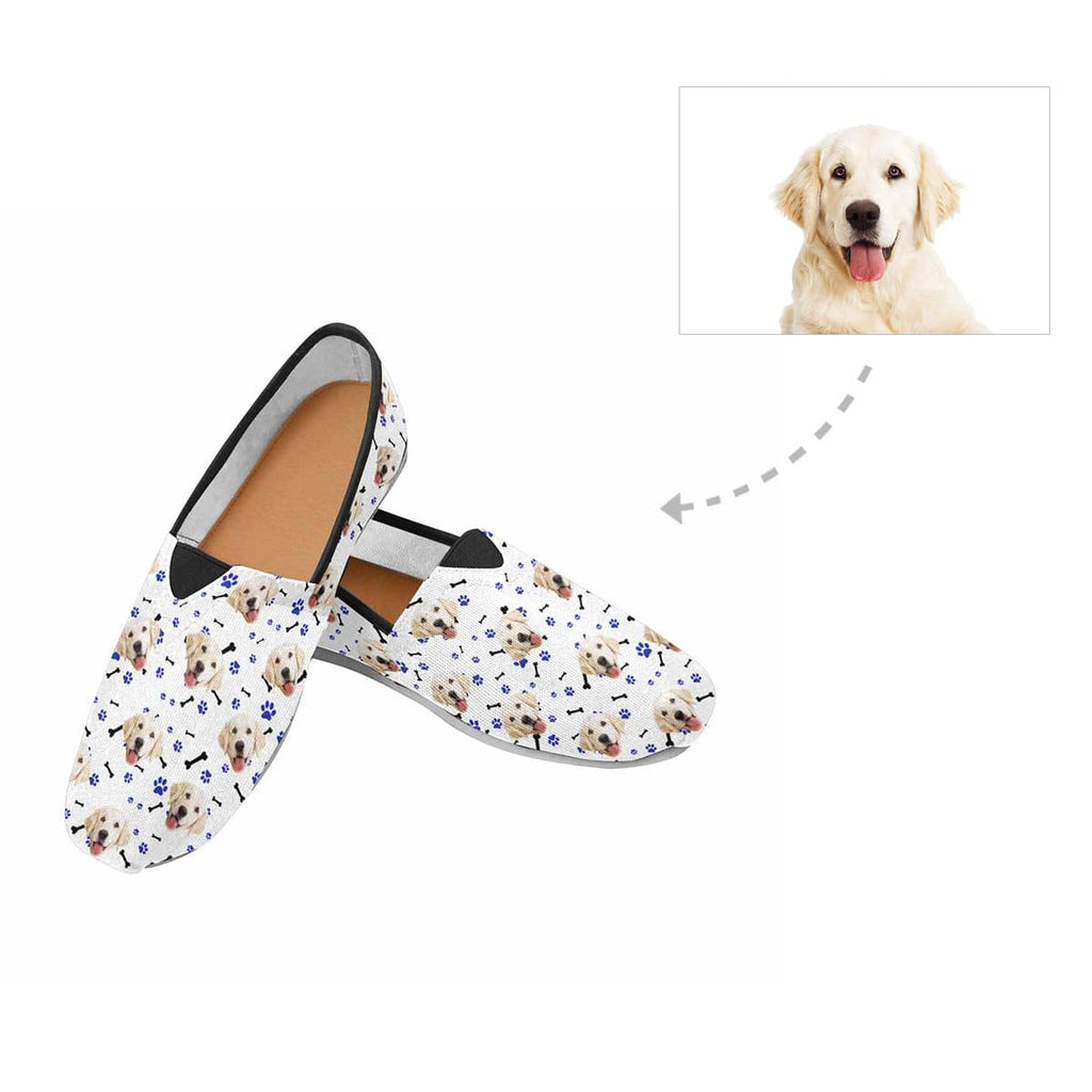 Custom Dog Face Paw and Bone Women's Casual Shoes