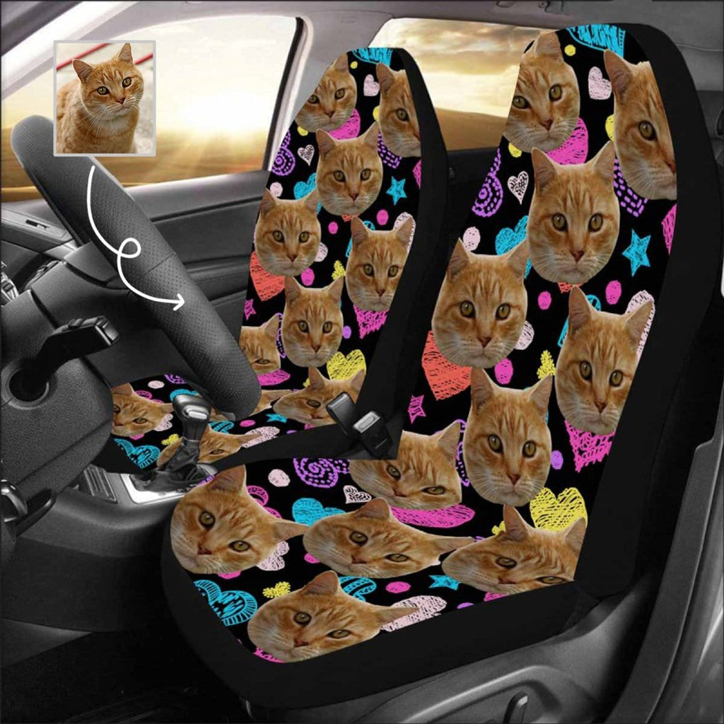 Custom Face Cat Car Seat Covers (Set of 2)