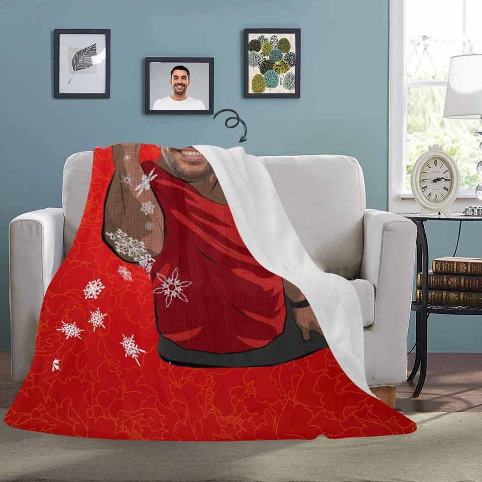 Custom Face Snowflakes Ultra-Soft Micro Fleece Blanket