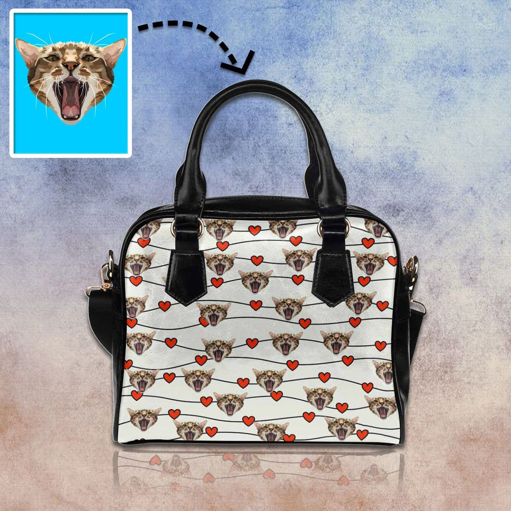 Custom Cat Red Heart Shoulder Handbag