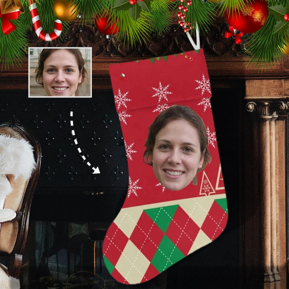 Custom Face Santa Presents Christmas Stocking