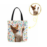 Custom Dog Face Colorful Paw Canvas Tote Bag