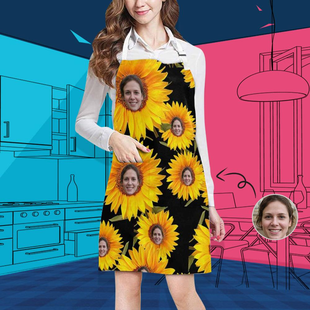 Custom Face Sunflower All Over Print Adjustable Apron