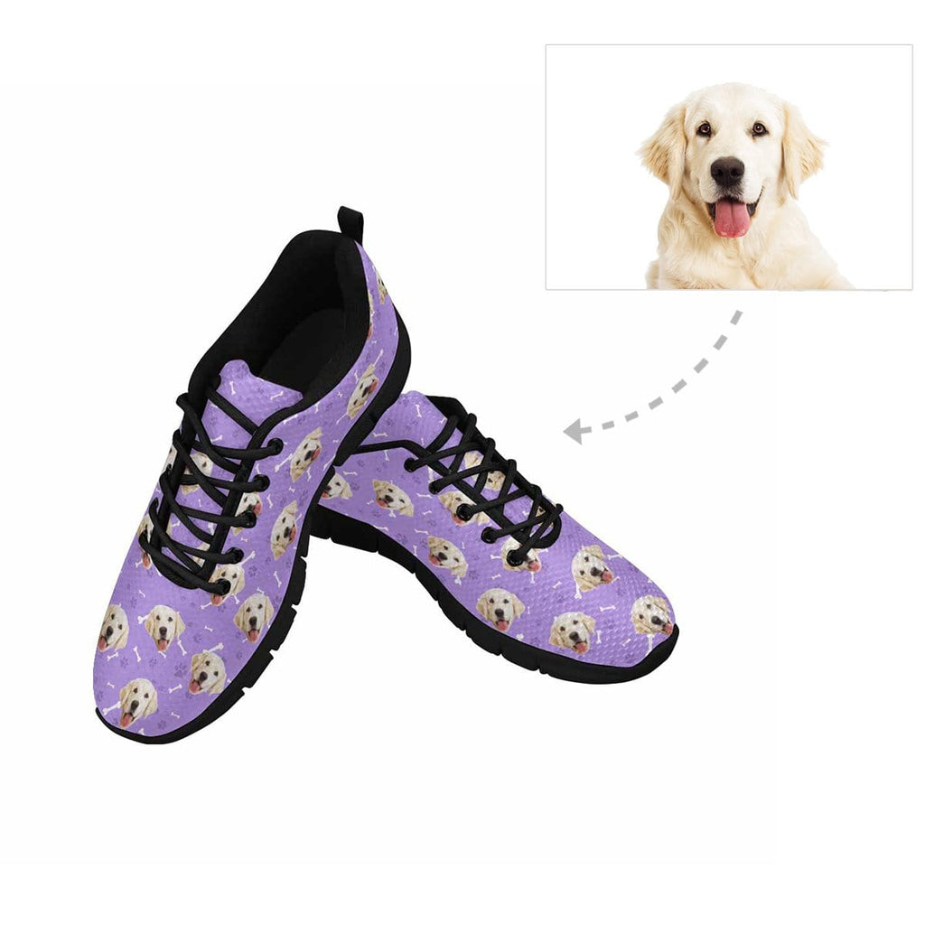 Custom Dog Face Paw and Bone Women's Running Shoes