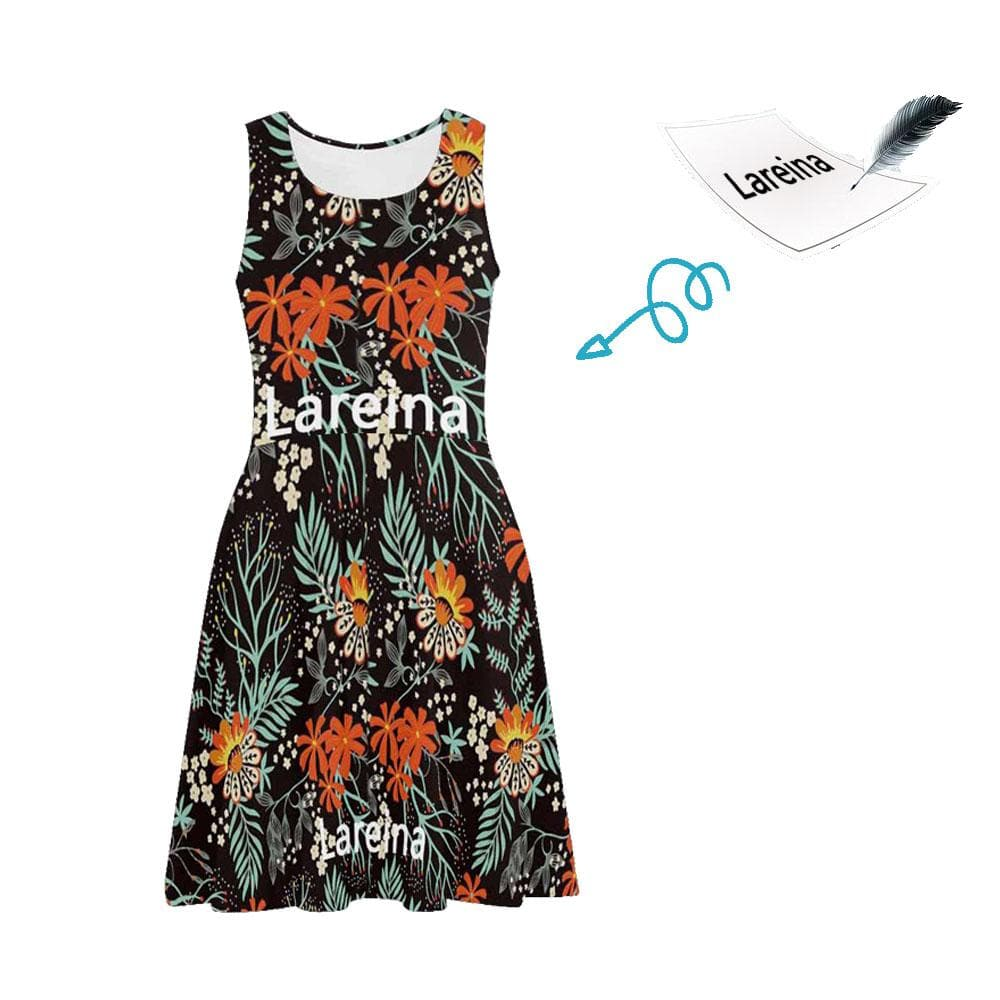 Custom Name Black Floral Casual Sundress