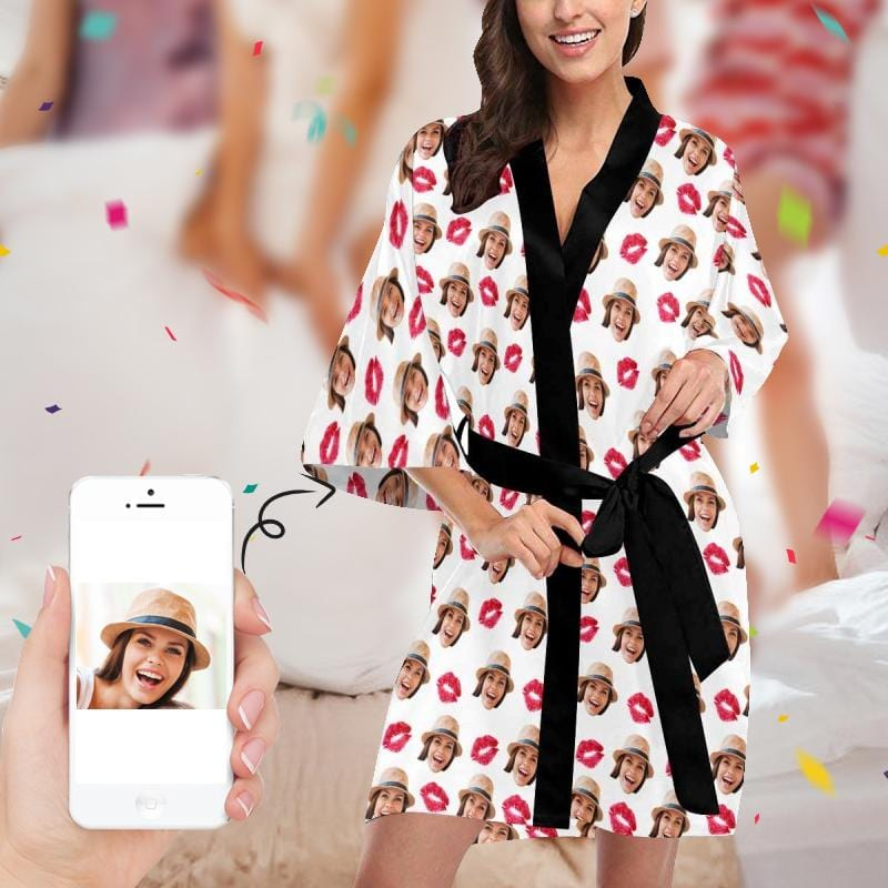 Custom Face Red Lips Women's Short Kimono Robe