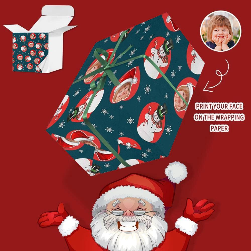 Custom Face Christmas Snowman Gift Wrapping Paper