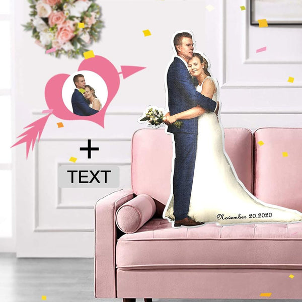 Custom Photo&Text Wedding Shaped Pillow