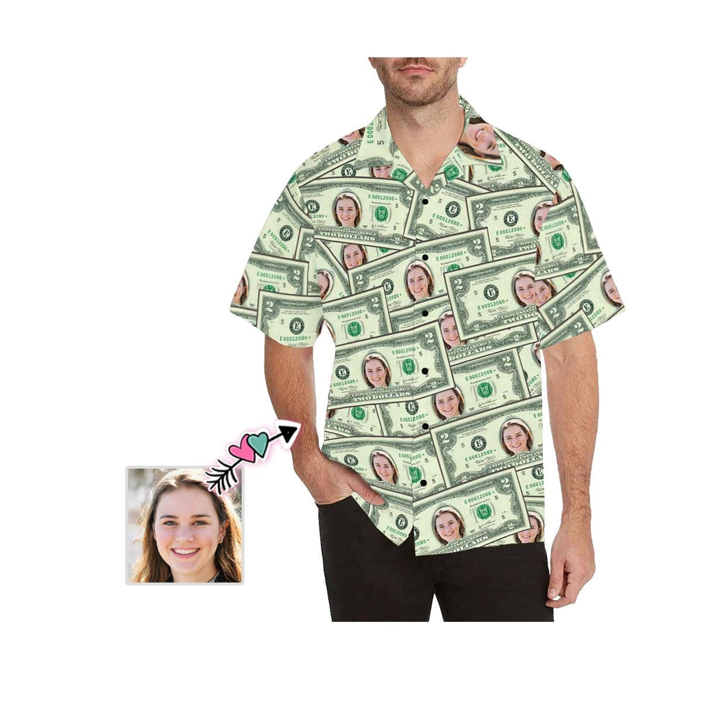 Custom Face Money Men's All Over Print Hawaiian Shirt