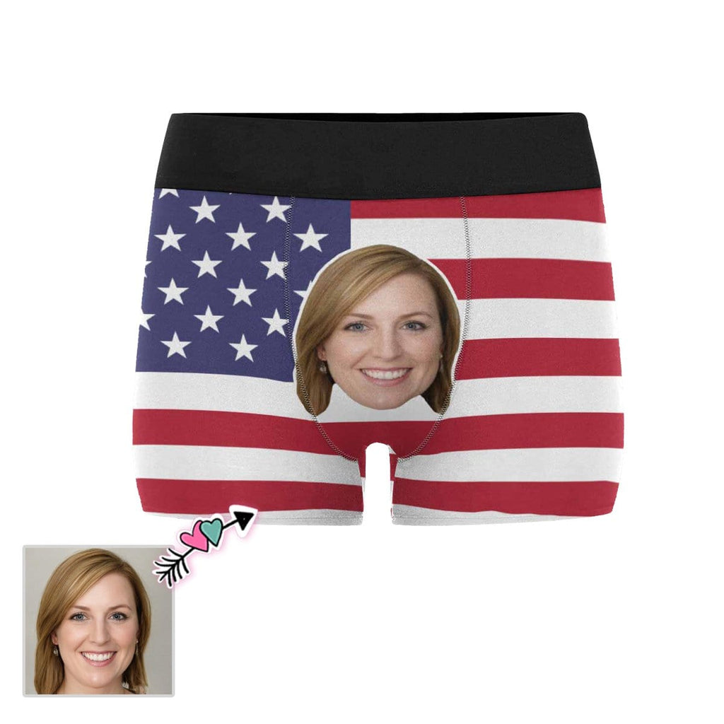 Custom Girlfriend Face American Flag Men's All-Over Print Boxer Briefs