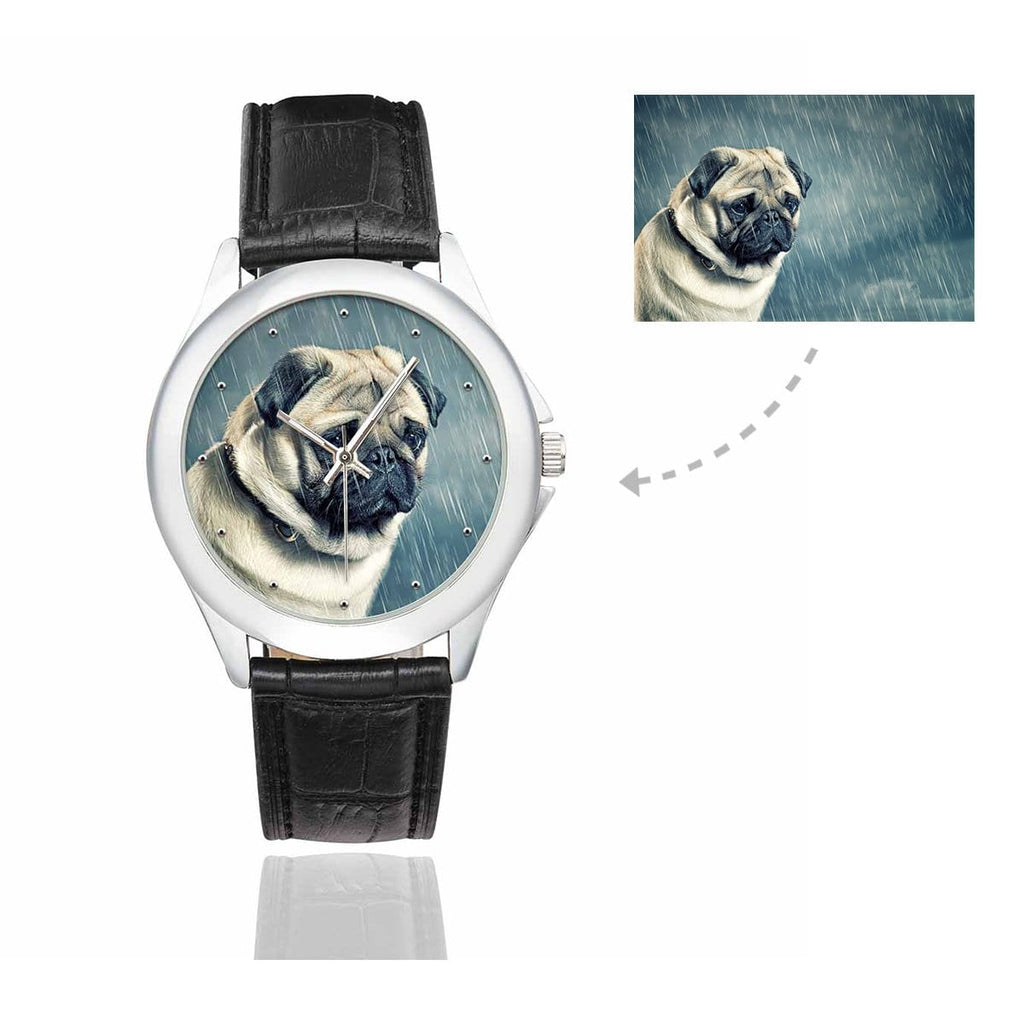 Women's Custom Sad Dog Photo Classic Watch, Black Leather Strap