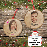 Custom Face&Name&Age Happy Birthday Circle Ornament