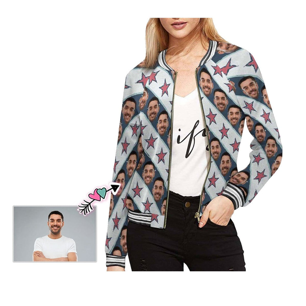 Custom Boyfriend Face Stripes Stars Women's Casual Jacket