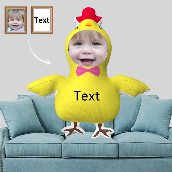 Custom Face&Text Yellow Chicken-Shaped Pillow
