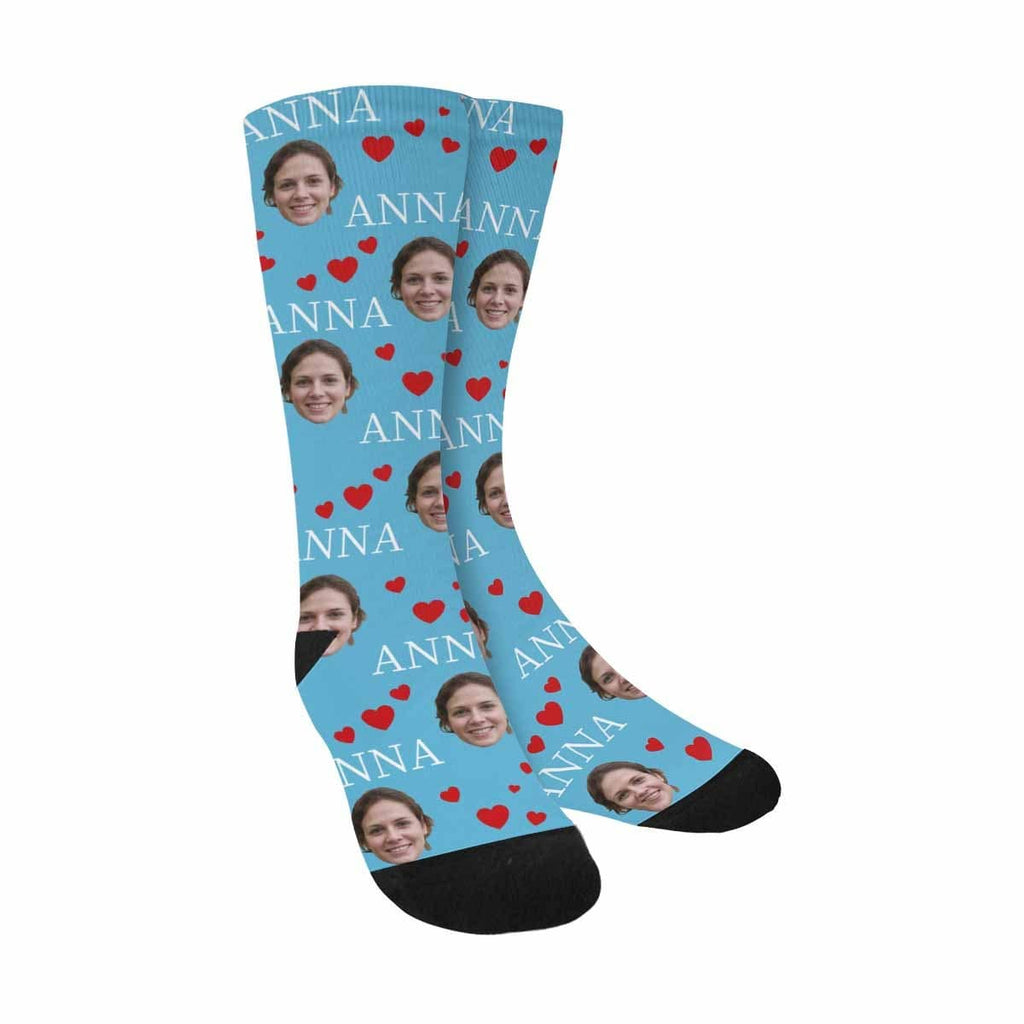 Custom Face&Name Red Love Sublimated Crew Socks