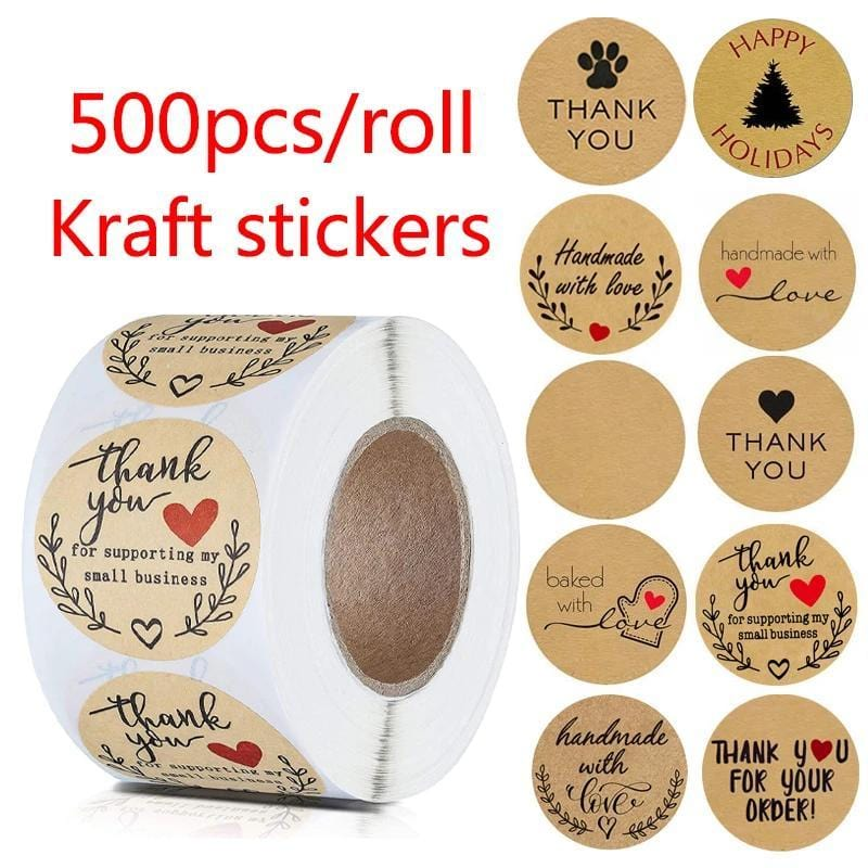500pcs Kraft Paper Thank You Stickers with Red Heart Handmade Labels Sticker for Business Envelope Sealing Party DIY Decorations