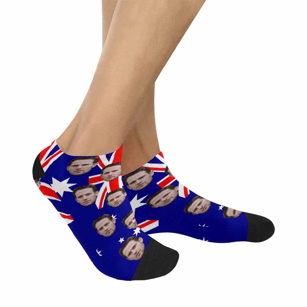Custom Husband Face Australia Flag Women's Ankle Socks