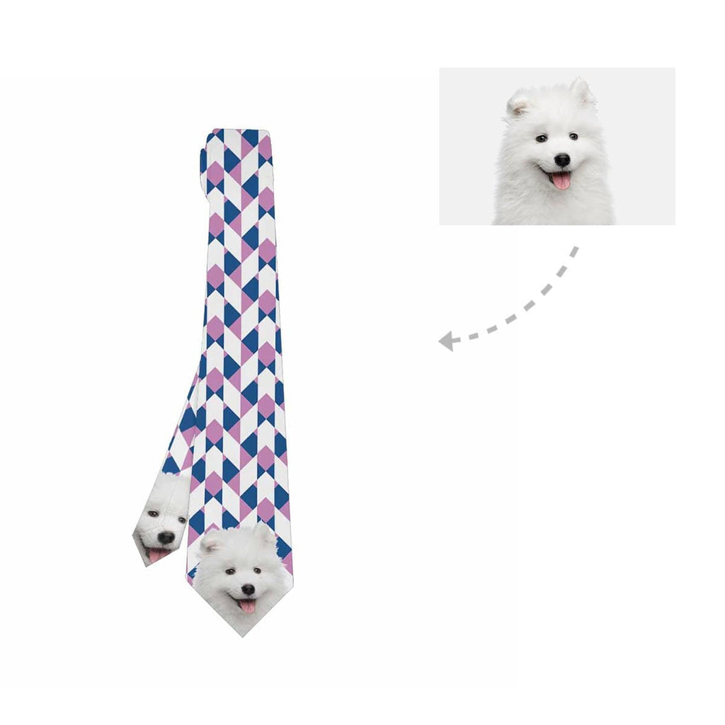 Custom Samoyed Dog Face Classic Necktie