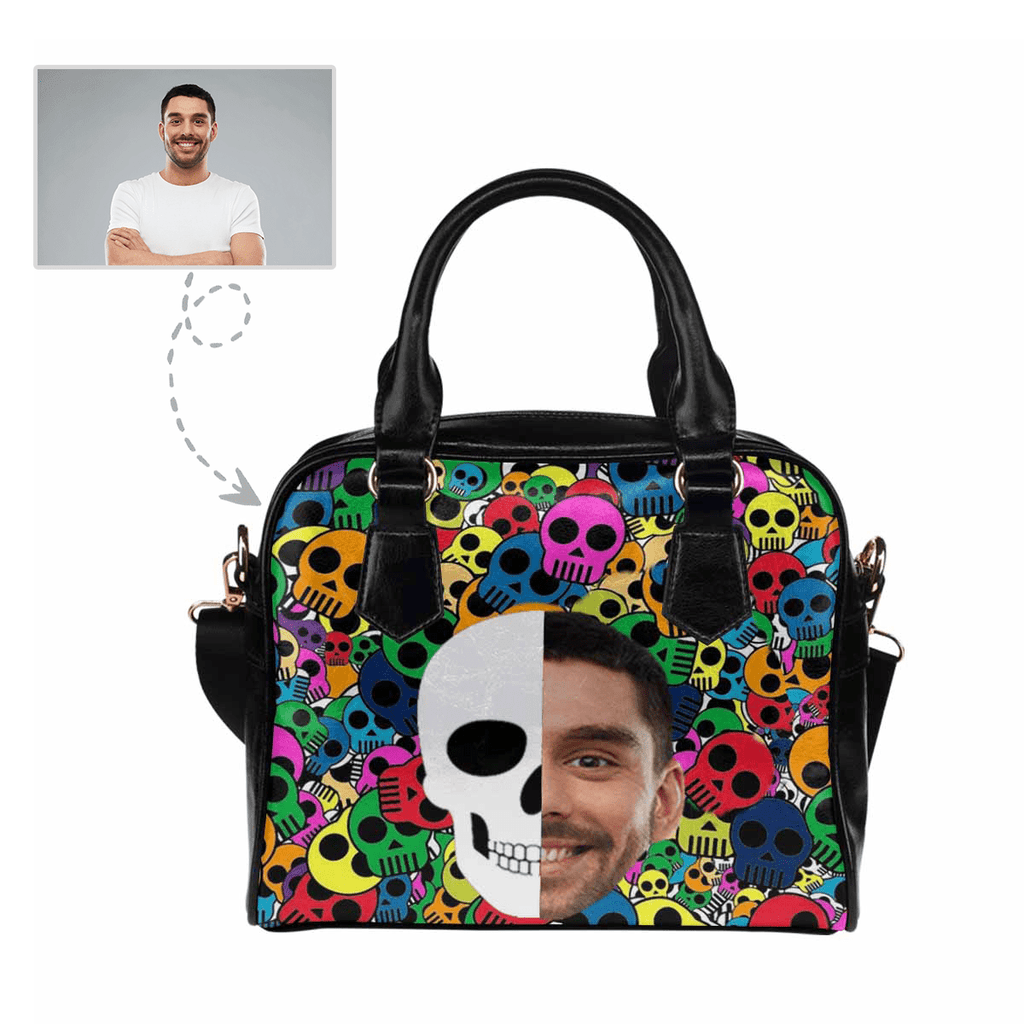 Custom Face Colorful Skull Shoulder Handbag