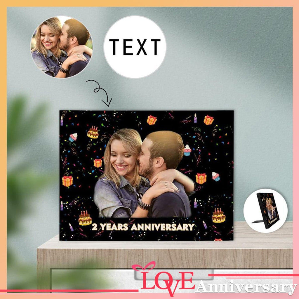 Custom Face&Text Anniversary Couple Photo Panel for Tabletop Display