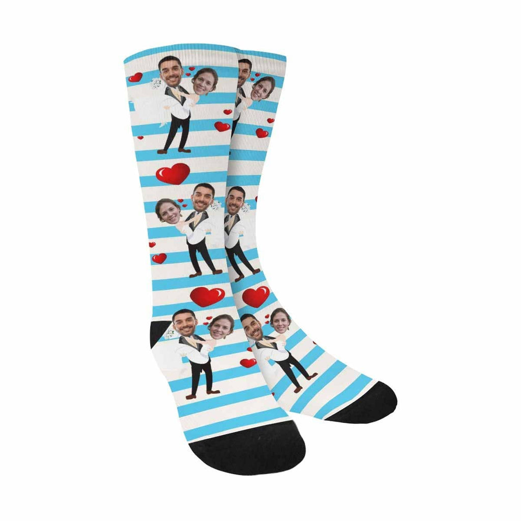 Custom Face Wedding Sublimated Crew Socks