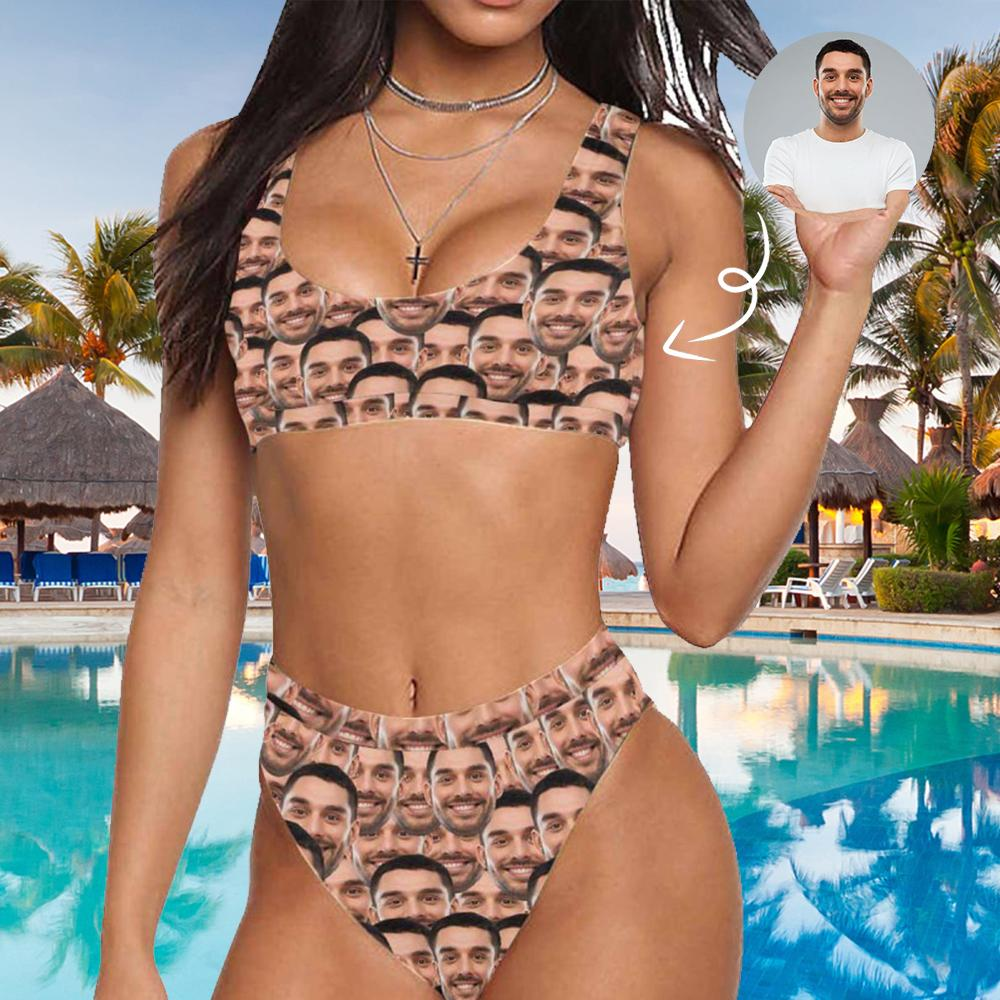 Custom Face Sport Top & High-Waisted Bikini Swimsuit