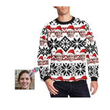 Custom Face Christmas Snowflake Men's Crewneck Sweatshirt