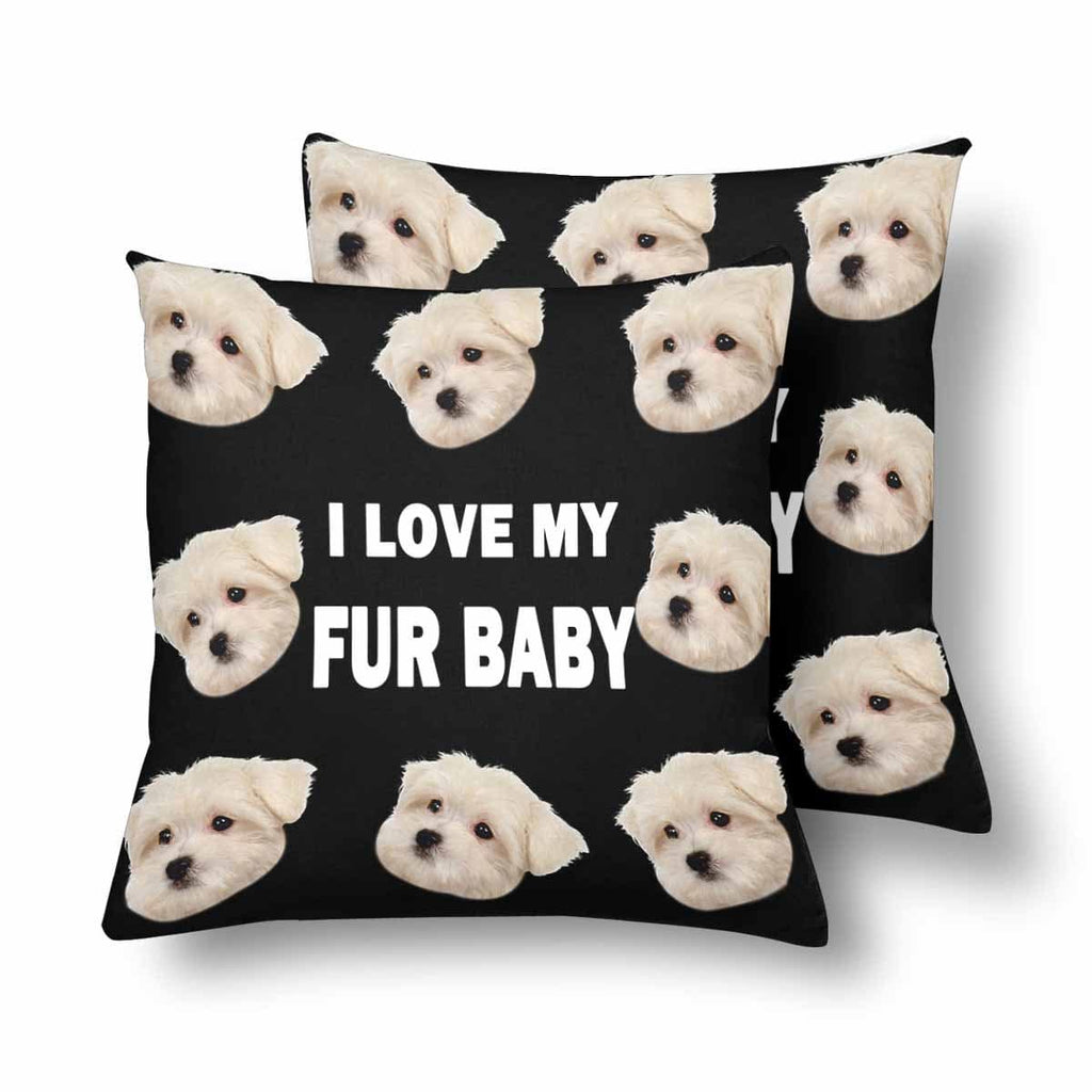 Custom Dog Face Letter Throw Pillow Cover