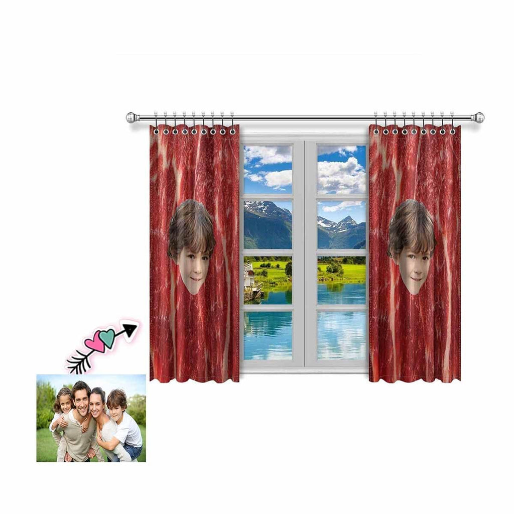 Custom Face Photo Meat Window Curtain 100'' x 84''