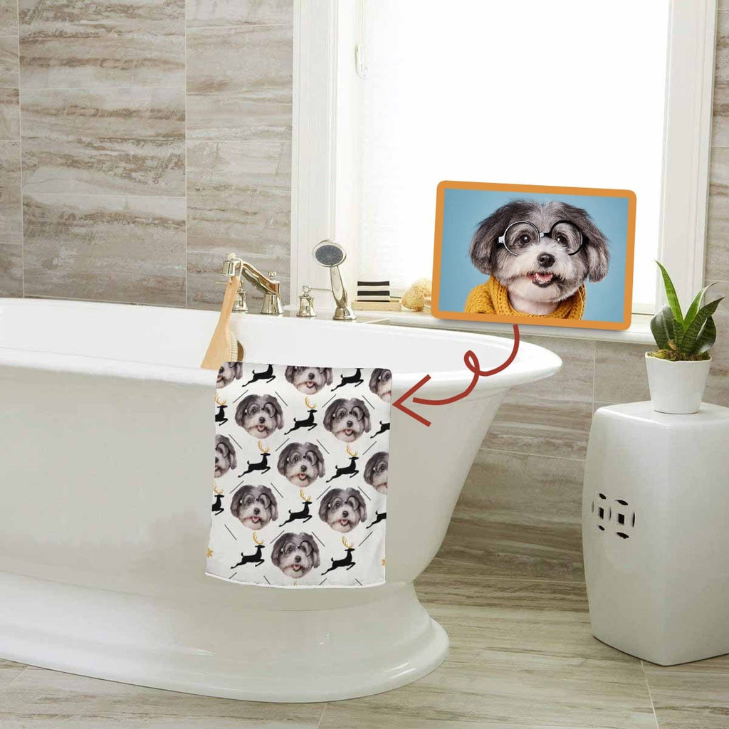 Custom Dog Face Deers Bath Towel