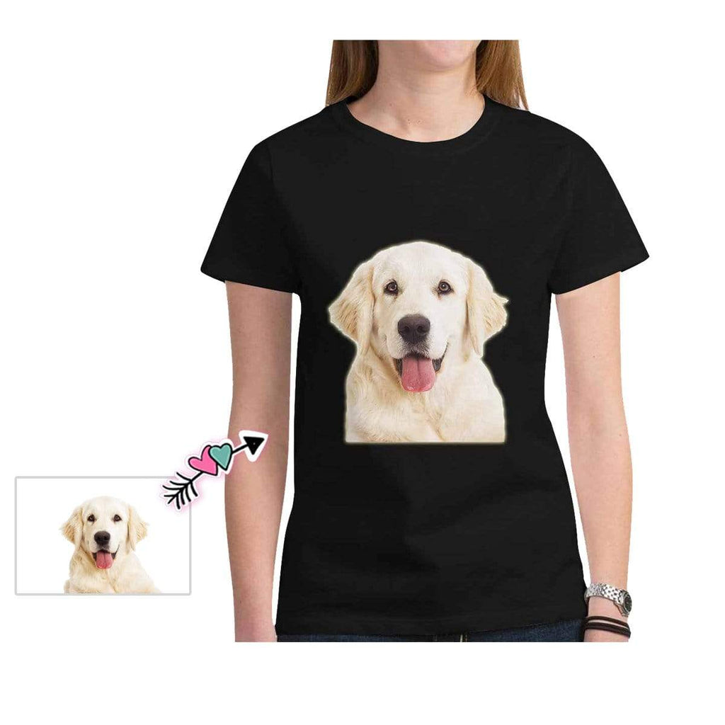 Custom Dog Face Black Classic Women's T-shirt