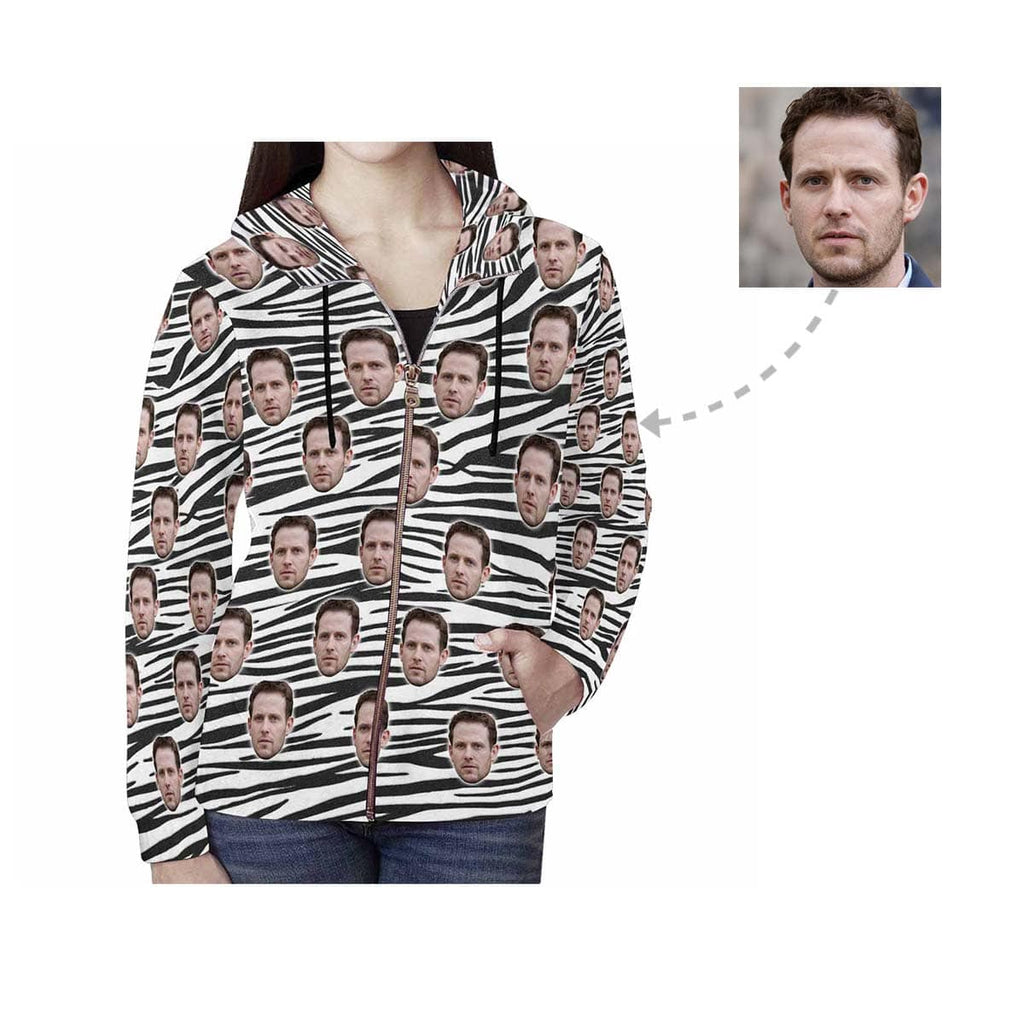 Custom Husband Face Black&White Women's All Over Print Full Zip Hoodie