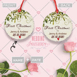Custom Name&Date First Christmas Wedding Circle Ornament