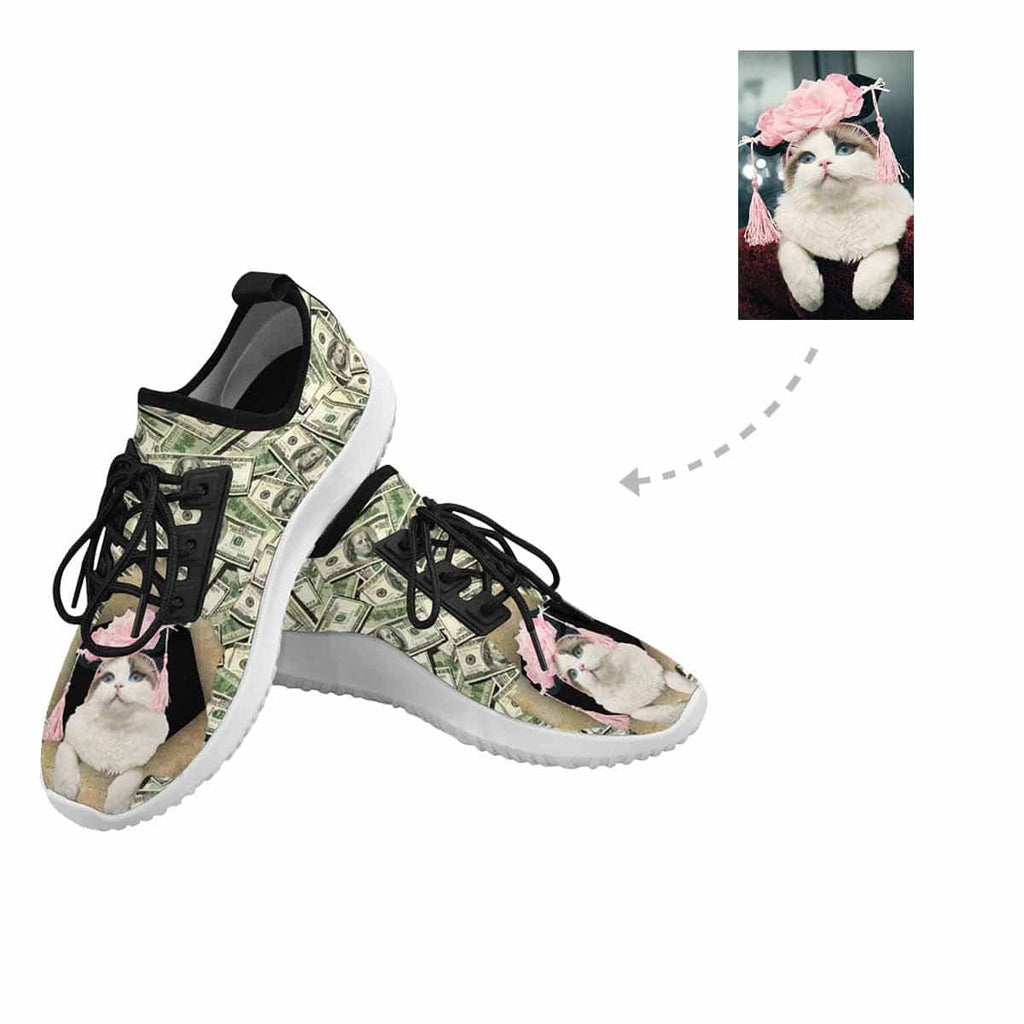 Custom Photo Cat Dollar Dolphin Ultra Light Men's Running Shoes