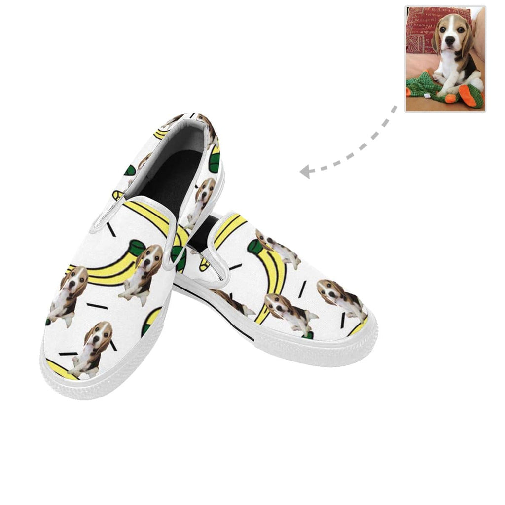 Custom Dog Photo Banana Slip-on Canvas Women's Shoes