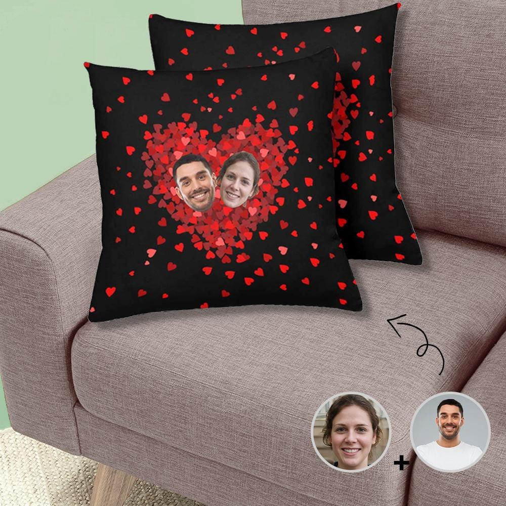 Custom Face Gradual Love Throw Pillow Cover
