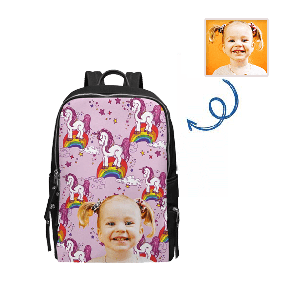 Custom Face Unicorn Rainbow School Bag