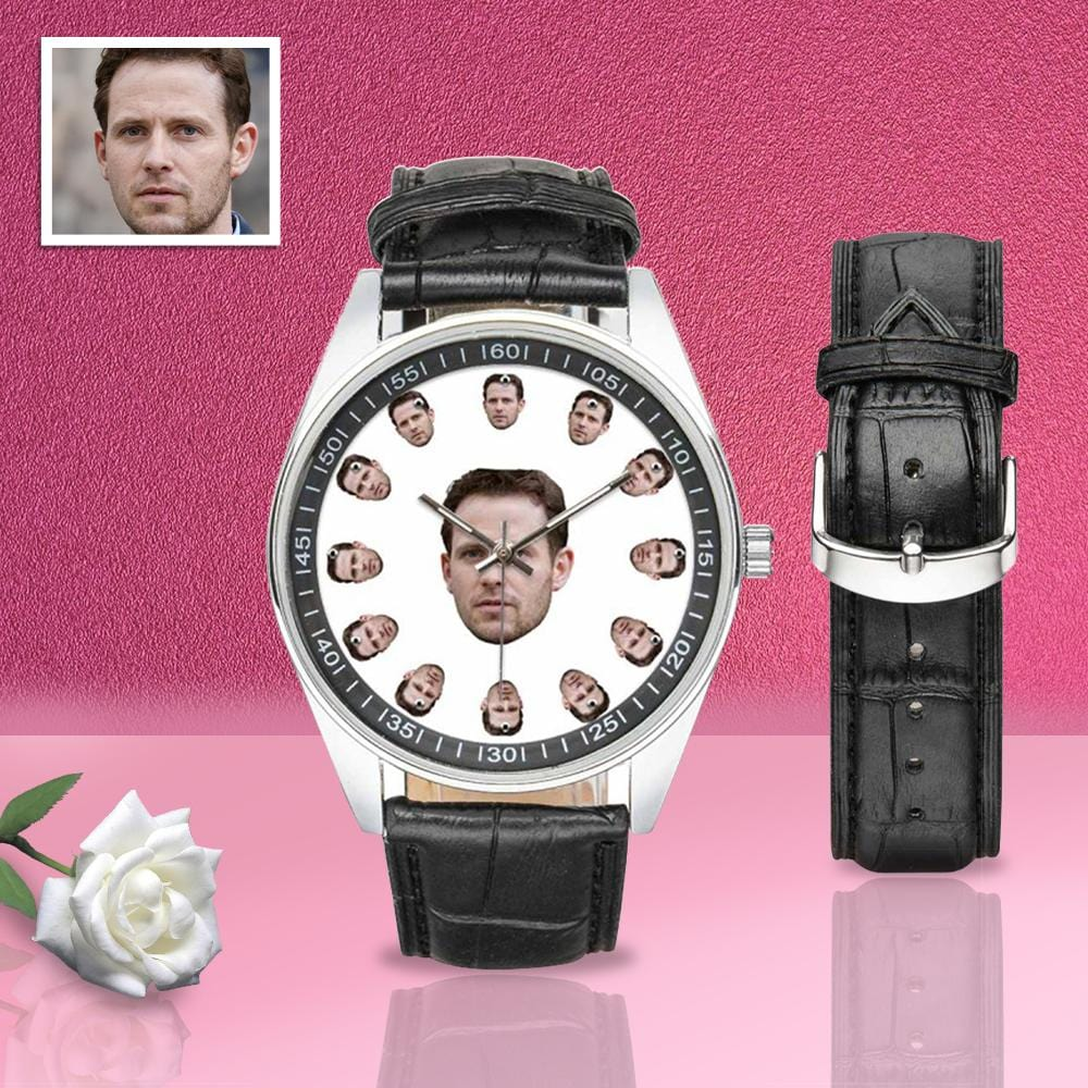 Custom Face Men's Casual Leather Strap Watch