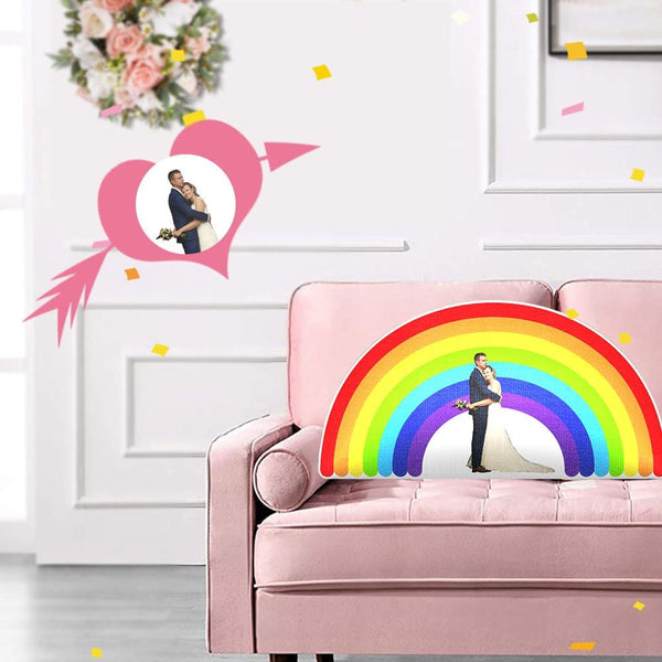 Custom Photo Wedding Rainbow Shaped Pillow
