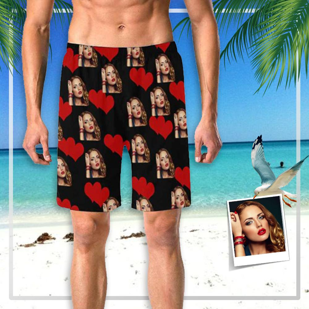 Custom Girlfriend Face Heart Men's Elastic Beach Shorts