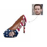 Custom Husband Face American Flag Women's High Heels