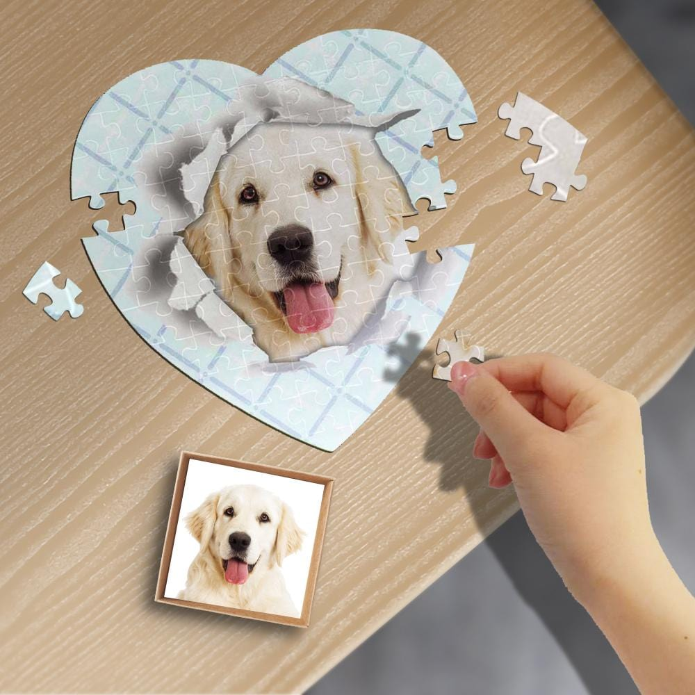 Custom Face Lattice Hole Heart-Shaped Jigsaw Puzzle Best Indoor Gifts For Lover 75 Pieces