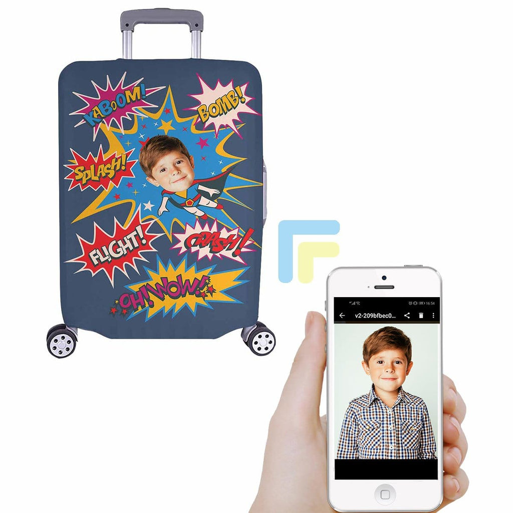 Custom Boy Face Super Hero Luggage Cover
