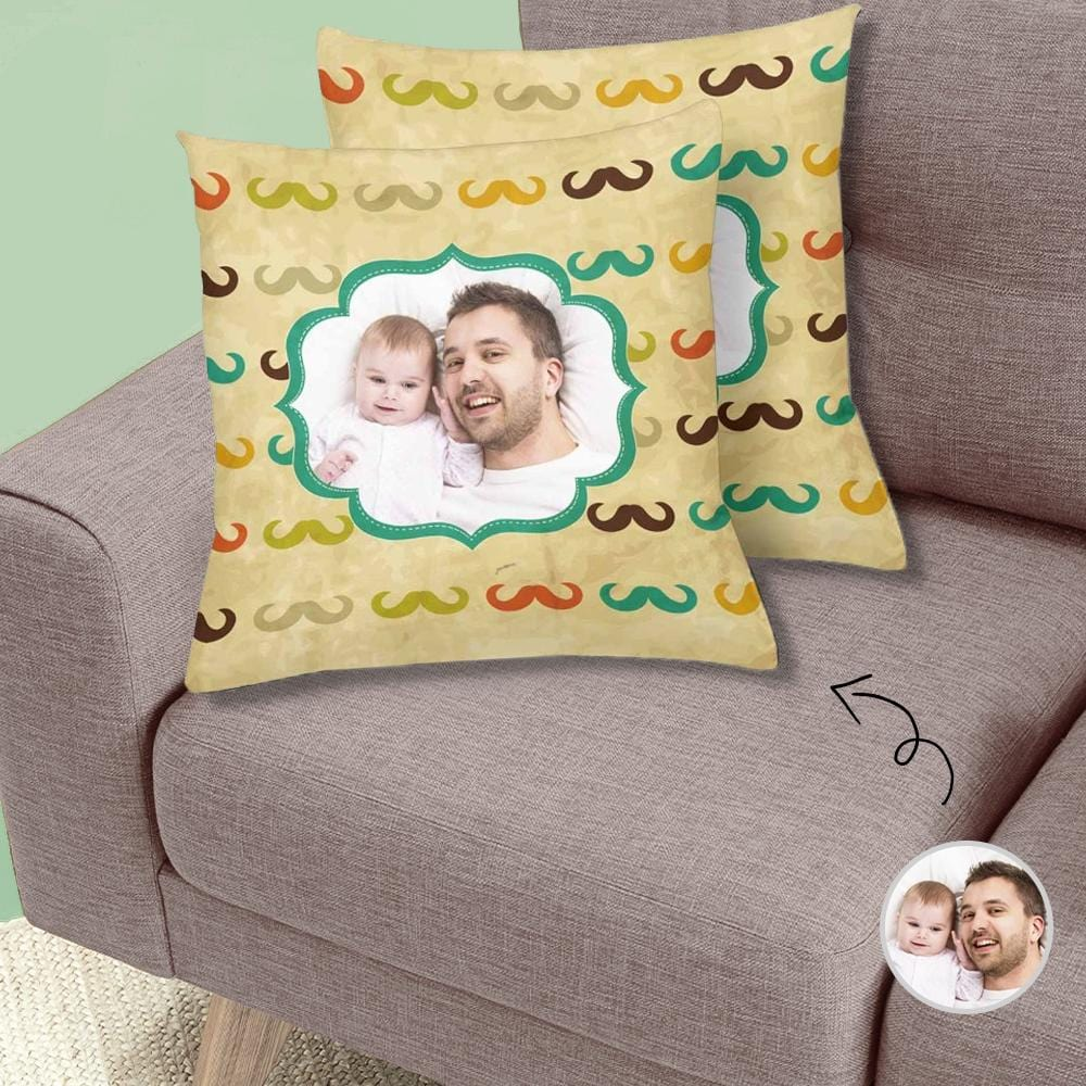 Custom Photo Mustache Throw Pillow Cover