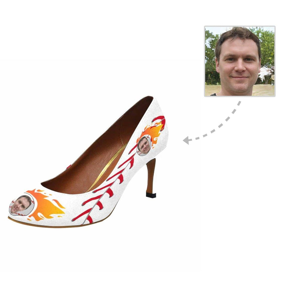 Custom Boyfriend Face Fire Baseball Women's Pumps