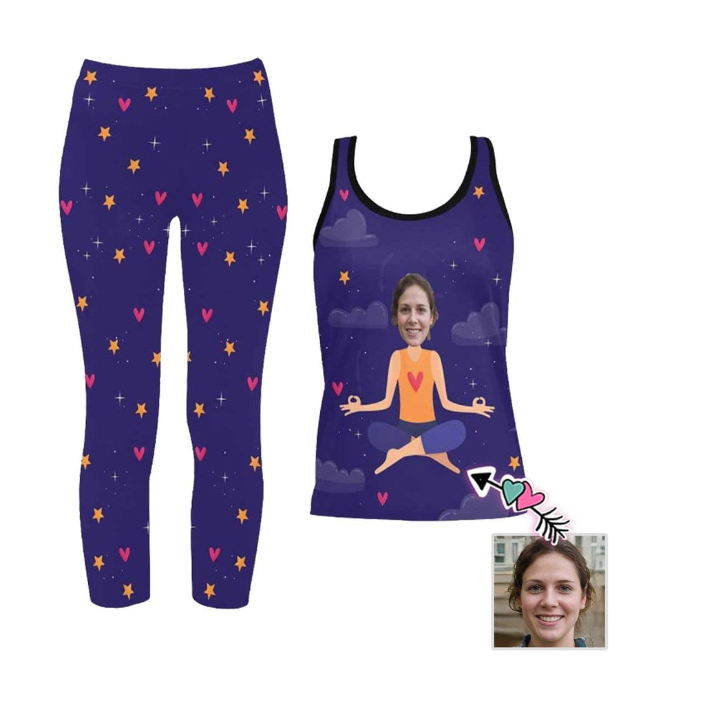Custom Face Stars Women's 2 Piece Stretchy Racerback Tank & Legging Set